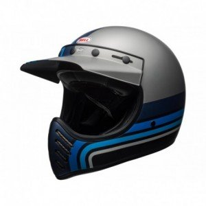 CASQUE BELL Moto-3 Matte Silver/Black/Blue Stripes