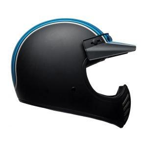 CASQUE BELL BELL Moto-3 Matte Silver/Black/Blue Stripes