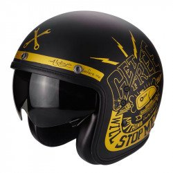 CASQUE JET SCORPION BELFAST FENDER OR NOIR