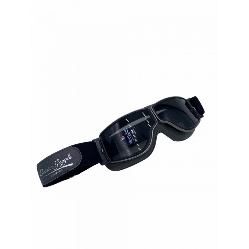 LUNETTES LEON JEANTET AVIATOR GOGGLE T2 4182 : noir/ cerclage noir / écran fumé