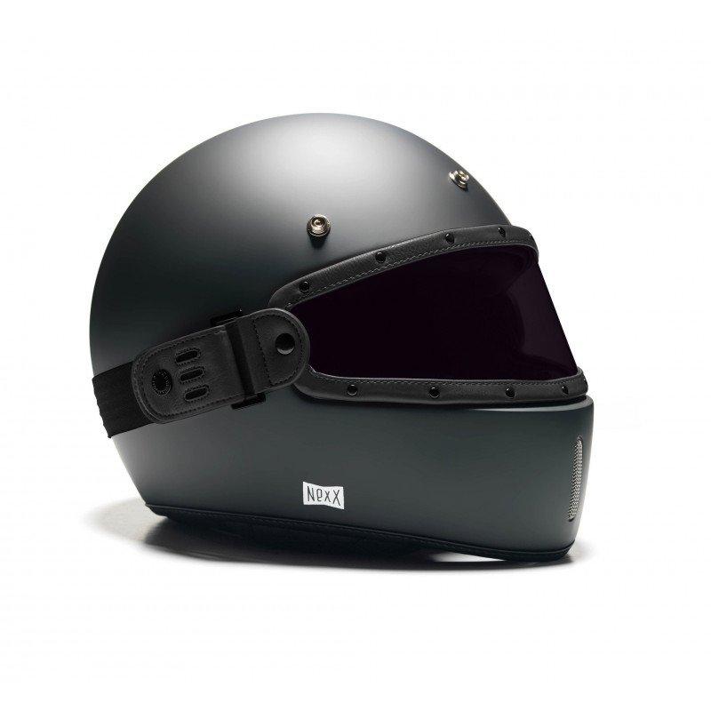 Ecran LEO cuir noir verre fumé pour casque NEXX X.G100 older racer